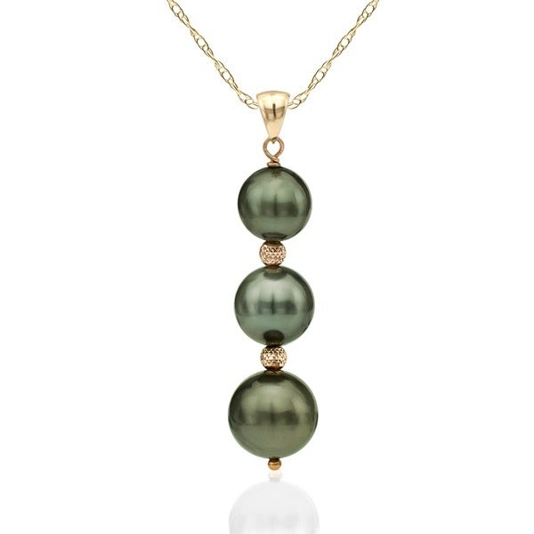 DaVonna 14k Yellow Gold Graduated Round Black Tahitian Pearl and Beads Pendant 18-inch Necklace (8 - 10 mm)