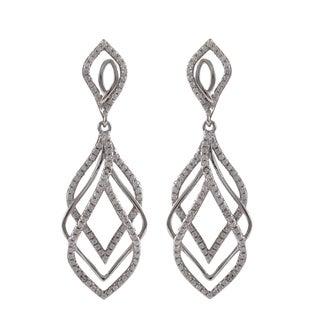 Sterling Silver Micropave Cubic Zirconia Layered Teardrop Dangle Earrings