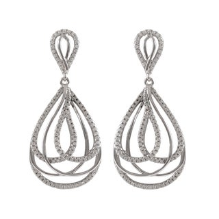 Sterling Silver Gold Finish Micropave Cubic Zirconia Layered Teardrop Dangle Earrings