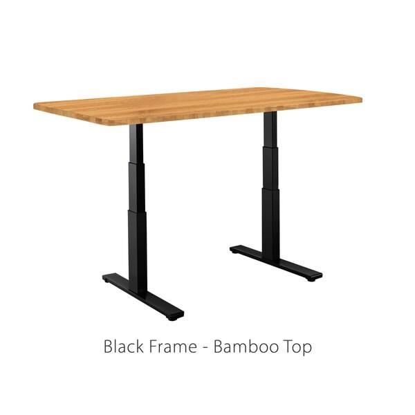 Premium Standing Desk, Black Frame, Rectangular Bamboo Table Top, Programmable Memory Pad