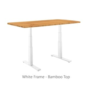Premium Standing Desk, White Frame, Rectangular Bamboo Table Top, Programmable Memory Pad