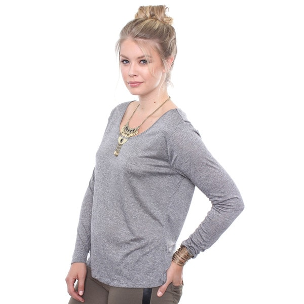 Juniors' Plus Size Grey Melange Scoop Top