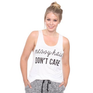 Juniors' Plus Size Messy Hair Dont Care Graphic Top