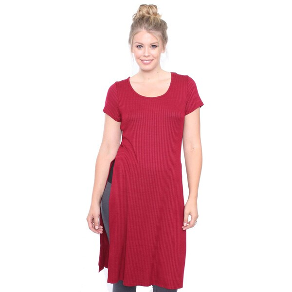 Juniors' Plus Size Burgundy Rib Tunic Top