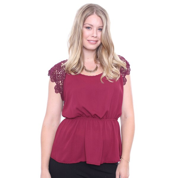 Juniors' Plus Size Sweet Burgundy Lace Sleeve Blouse