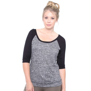 Juniors' Plus Size Raglan Rib Top with Front Pockets