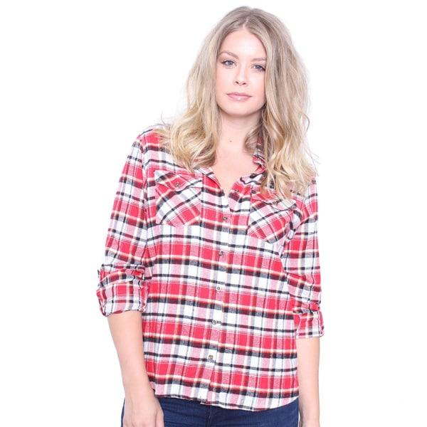 Juniors' Plus Size Red Plaid Flannel Shirt
