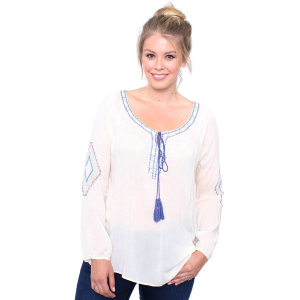 Juniors' Plus Size Ivory Boho Top with Embroidery