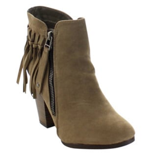Breckelle's Gail-26 Women's Block Stacked Heel Fringe Trim Ankle Booties