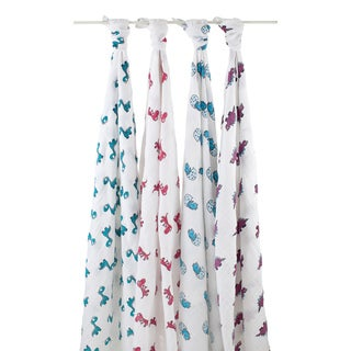 aden + anais Dino-Mite Classic Muslin Swaddle Blanket (Pack of 4)