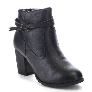 Bamboo Rattle-04 Women's Faux Fur Lining Strap Deco Chunky Heel Ankle Booties