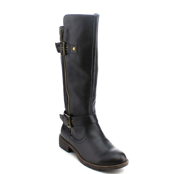 City Snappers 1075-20 Women's Fashion Double Straps Quilted Mid Calf Boots