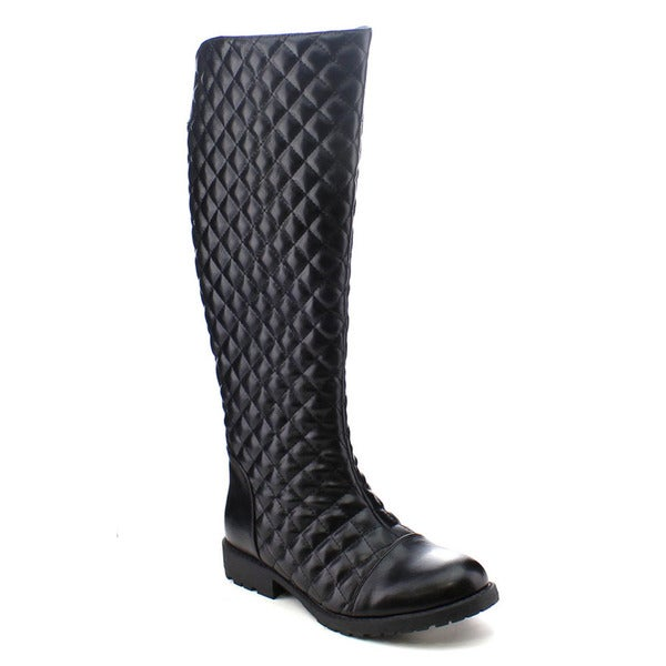 City Snappers 1075-73 Women's Western Knee High Diamond Shape Combat Boots