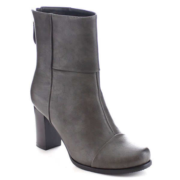 I Heart Collection Haley-06 Women's Back Zipper Chunky Heel Mid Calf Riding Boot