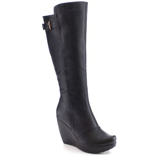 I Heart Collection Jane-03 Women's Basic Buckle Platform Wedge Knee High Boots