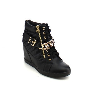 City Snappers 3112-20 Women's Stylish Hidden Wedge Heel Lace Up Sneakers