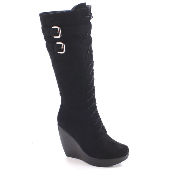 I Heart Collection Jane-05 Women's Buckle Lace Up Platform Knee High Combat Boot