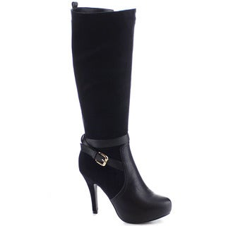 I Heart Collection Patricia-01 Women's Almond Toe Stiletto Heel Knee High Boots
