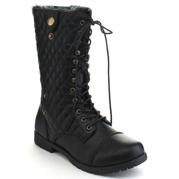 Bumper Evelyn11 Women's Quilted Lace Up Mid Calf Military Boots