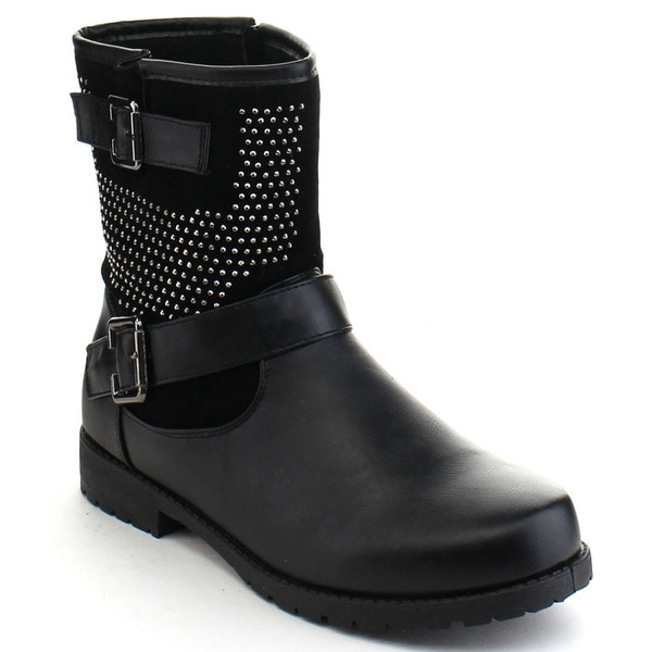 Bumper Evelyn12 Women's Rhinestone Studded Side Zipper Mid Calf Boots