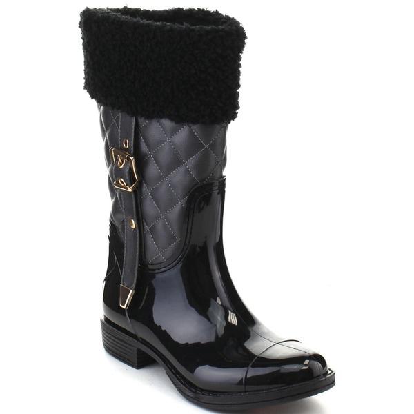 Bumper Rahel08 Women's Buckle Faux Fur Collar Waterproof Under Knee High Boots