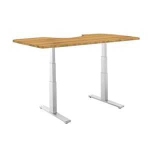Premium Standing Desk, Grey Frame, Ergonomic Bamboo Table Top, Programmable Memory Pad