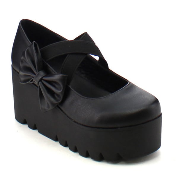 City Snappers 7050-3 Women's Stylish Platform Wedge Heel Lug Sole Bow Deco Shoes