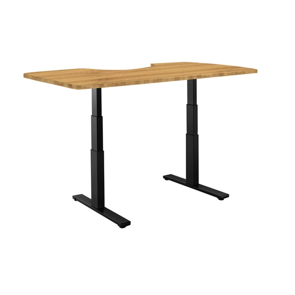 Premium Standing Desk, Black Frame, Ergonomic Bamboo Table Top, Programmable Memory Pad