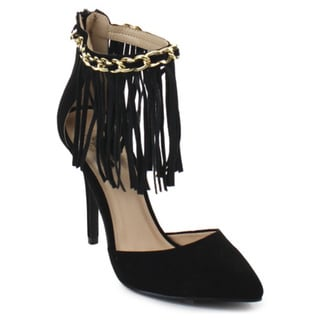 Wild Rose Audrey09 Women's Classical Pointed Toe Fringe Stiletto Heel Pumps
