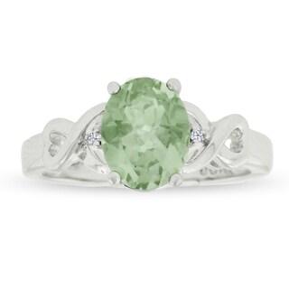 1 3/4 Carat Oval Shape Green Amethyst and Diamond Ring