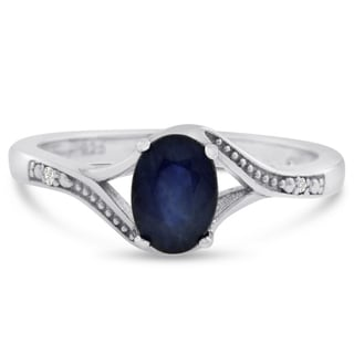 1 Carat Oval Shape Sapphire and Diamond Ring In Sterling Silver