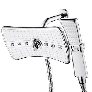 AKDY 185 Nozzles Rainfall Massage Jets Dual Function Overhead Shower Head Handheld Wand Combo Set