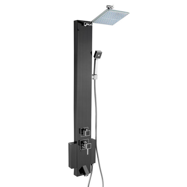 """AKDY 48"""" Black Stainless Steel Rainfall Multi-Function Wall Mount Shower Panel Tower System 16145302"""
