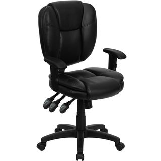 Mid-back Black Leather Multi-functional Ergonomic Task Chair with Arms