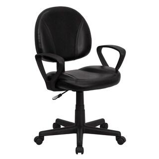 Mid-back Black Leather Armed Ergonomic Task Chair