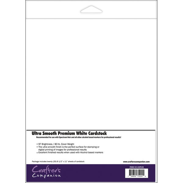 Spectrum Noir Ultra Smooth Premium Cardstock 8.5inX11in 20/PkgWhite