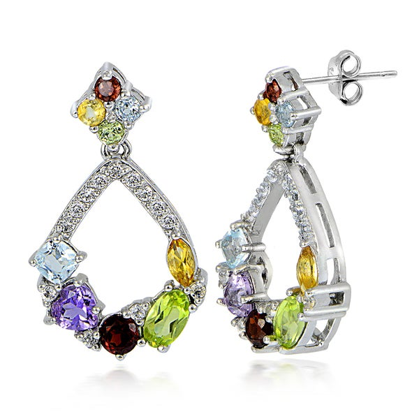 Glitzy Rocks Sterling Silver With Multi Gemstones and White Topaz Open Teardrop Earrings