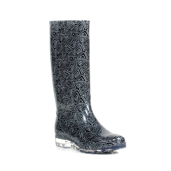 Toms Women's Black and White Tribal Cabrilla Rain Boot