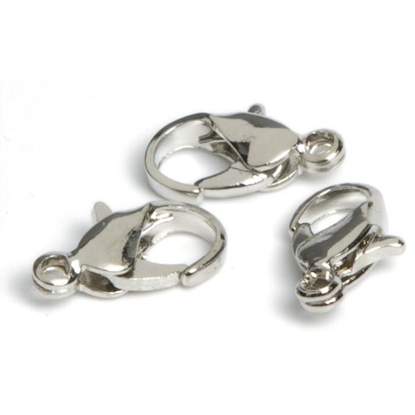 Jewelry Basics Metal Findings 24/PkgSilver Lobster Claws 7mm To 9mm