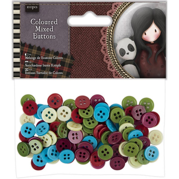 Santoro Tweed Mixed Buttons 100/Pkg