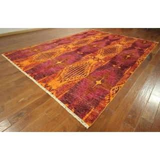 Hand-knotted Geometric Orange/ Pink Modern Ikat Oriental Wool Rug (9' x 12')