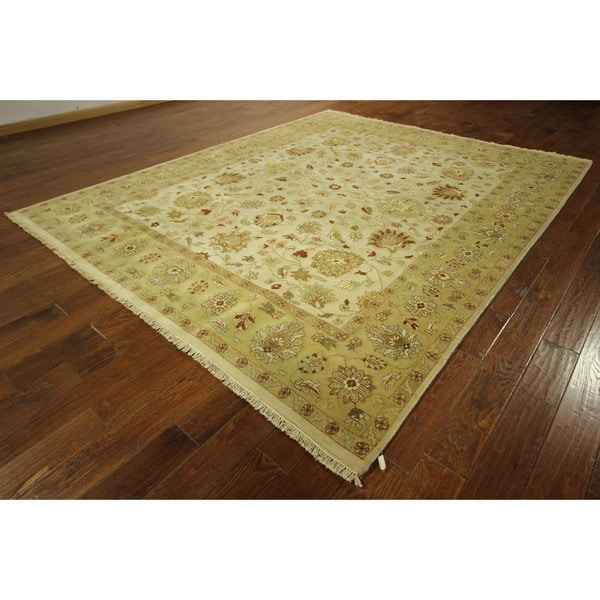 Shop Oushak Floral Tufted Wool Persian Oriental Area Rug: Vegetable Dyed Hand-knotted Floral Oushak Ivory Persian