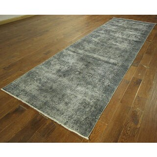 Grey Overdyed Runner Hand-knotted Wool Area Rug (4' x 12')