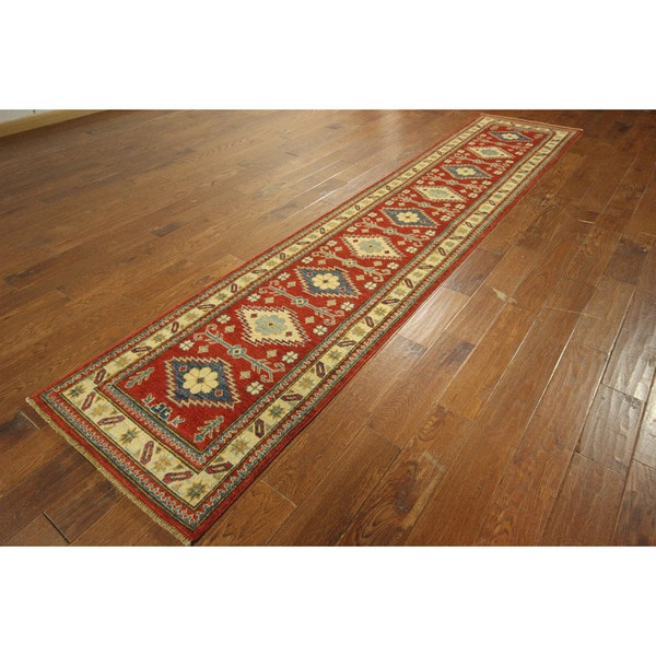 Morris Collection Red Kazak Hand-knotted Wool Oriental Runner Rug (3' x 12')