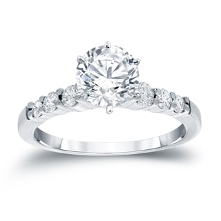 Auriya 14k White Gold 3/4ct TDW Round Diamond Engagement Ring (H-I, SI2-SI3)