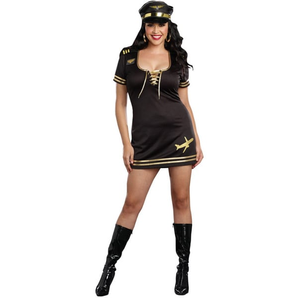 Dream Girl 9918x Women's Service with a Smile 3-piece Pilot Halloween Costume Set