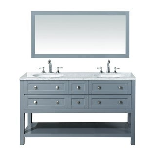 Stufurhome Marla 60 inch Double Sink Bathroom Vanity with Mirror in Grey