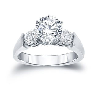 Auriya 14k White Gold 1/2ct TDW Round Cut Diamond 3 Stone Ring (H-I, SI2-SI3)
