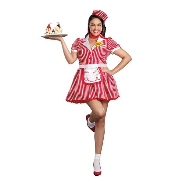 Dream Girl 9975x Women's Diner Doll 5-piece Diner Girl Halloween Costume Set