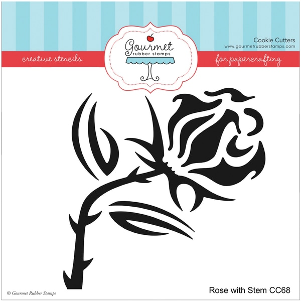 Gourmet Rubber Stamps Stencil 6inX6inRose W/Stem